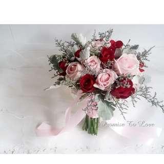 Rustic Fresh Red & Light Pink hand bouquet (Wedding / ROM/ Bridesmaid / Proposal/ Anniversary/Birthday)
