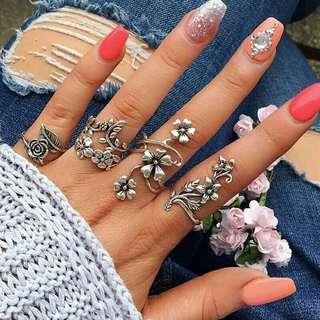 Vintage Rose Flower Rings Set for Women Bohemia Antique Silver Color Rings