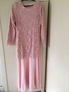 Pink laced long dress
