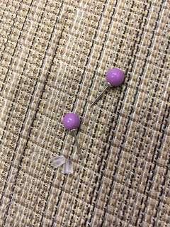 🚚 天然寶石-紫云母耳釘