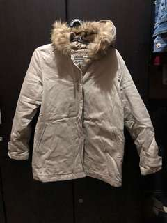Nude pink jacket with fur hood