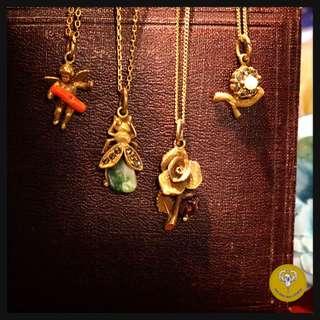 維多利亞時代鍍金天然寶石charms