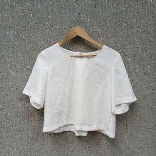 Semi-cropped White Korean Style Top