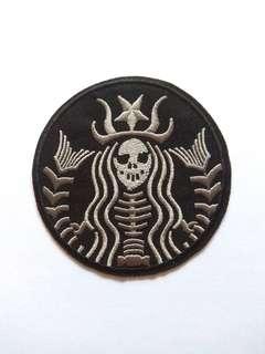 StarBucks Logo Evil Skeleton Mermaid Iron On Patch