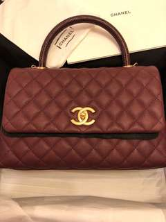 Chanel Coco Handle 28cm Burgundy Red 95% new