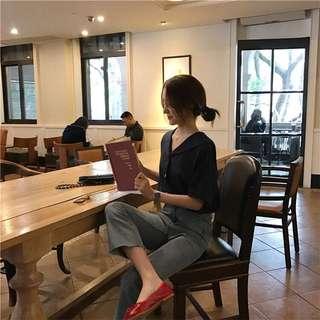 ❤️實拍🇰🇷韓國chic棉麻顯瘦V領恤衫