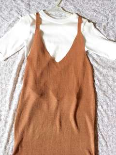 Brown Dress with Inner Shirt