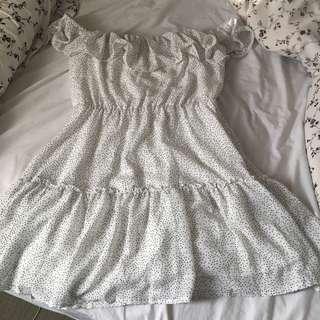 Off the shoulder polka dot dress