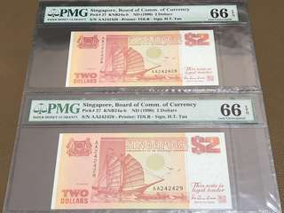 1990 Singapore $2 Ship (Orange) First Prefix (AA) Running Pair in Original Brand New Mint Uncirculated Condition (UNC) with PMG 66EPQ