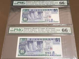1987 Singapore $1 Ship First Prefix (A/1) Running Pair in Original Brand New Mint Uncirculated Condition (UNC) with PMG 66EPQ