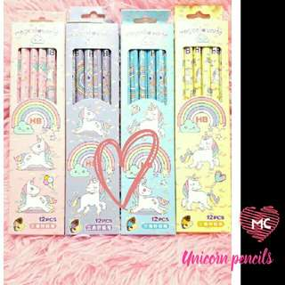 12pcs unicorn pencils