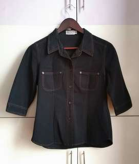 Black Denim 3/4 Long sleeves Polo Shirt [Medium]
