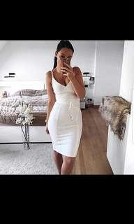 White Bodycon Rayon bandage dress size XS (6-8)