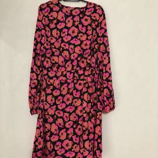 Warehouse Floral peach and pink dress