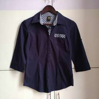 Navy Blue Polo Shirt with Checkered Trimmings [Medium]