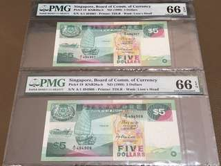 1989 Singapore $5 Ship First Prefix (A/1) Running Pair in Original Brand New Mint Uncirculated Condition (UNC) with PMG 66EPQ