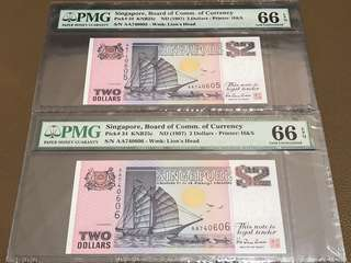 1997 Singapore $2 Ship (Purple) First Prefix (AA) Running Pair in Original Brand New Mint Uncirculated Condition (UNC) with PMG 66EPQ