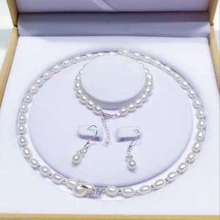 天然淡水珍珠頸鏈+手鏈+耳環套裝