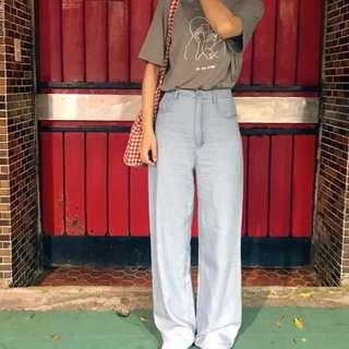 。error dot。清新藍高腰落地寬褲