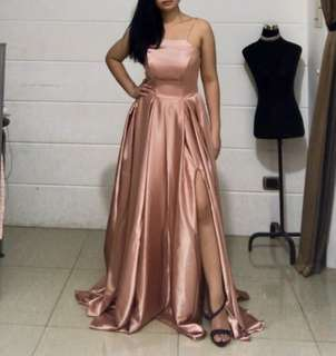 Rose Gold Long Train Gown for RENT
