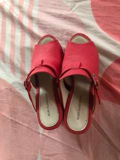 Gibi collection red wedge shoes