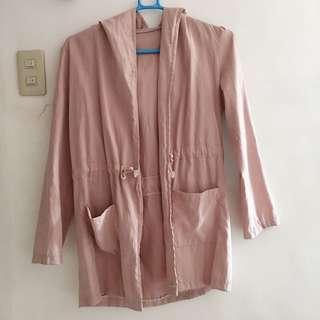 Pink hooded coat