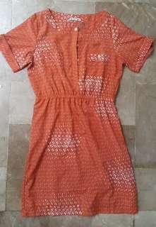 Plus size orange casual dress