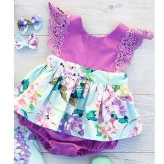 Purple Floral Baby Girl Romper 3pcs Set