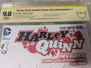 Harley Quinn Invades Comic-Con International #1 CBCS 9.8 Signed and sketched by Chip Zdardsky!