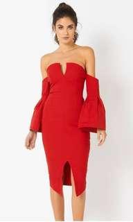 Vesper Bardot Dress in Red