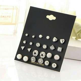 1 set Piercing studded pearl earrings tindik anting
