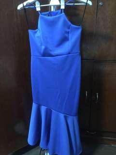 assymetrical royal blue dress