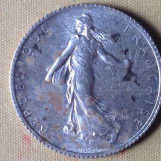 1918 France 1 Franc coin.
