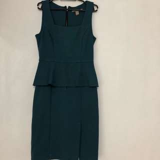 Forever 21 Peplum Dark Green Dress