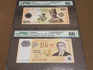 2007 Brunei / Singapore $20 Commemorative with Identical Serial Number Pair BND 004318 / SGD 004318 in Original Brand New Mint Uncirculated Condition (UNC) with PMG 66EPQ