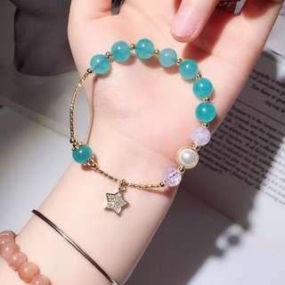 天然天河石+貝珠+925銀飾手鏈
