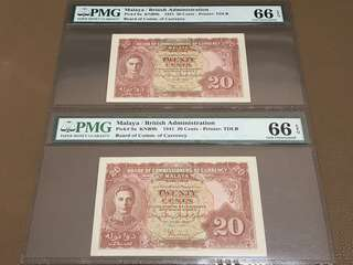 1941 Malaya / Singapore Twenty Cents (20c) in Original Brand New Mint Uncirculated Condition (UNC) with PMG 66EPQ
