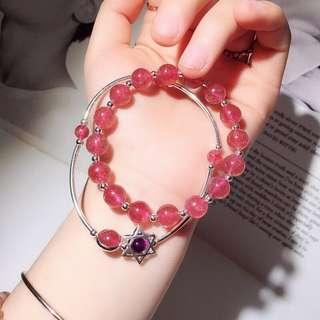天然草莓晶+紫晶手鏈