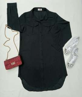 Kemeja dress black pocket