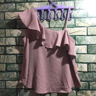 SIENNA SKY Asymmetrical top in rose taupe