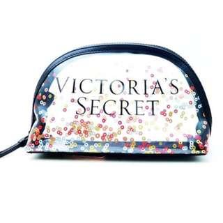 Original Victoria's Secret Clear Confetti Plastic Cosmetic Bag with Zipper