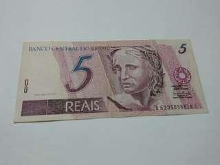 2003年舊版巴西動物紙幣5雷亞爾(REAIS)B6235038818C(尾818C數字原位梯級下移錯體移位)正面共和國肖像,背面大白鷺。