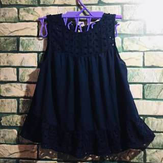 MANGO Blue top with lace designs