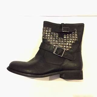 Black Studded Women's Boots - Size 9