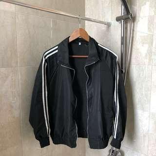 bnip black jersey striped windbreaker
