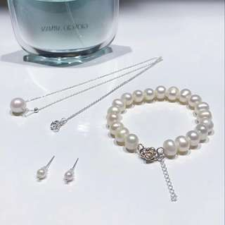 925銀 天然淡水珍珠頸鏈+手鏈+耳環