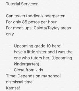 Tutor kids from toddler-kindergarten