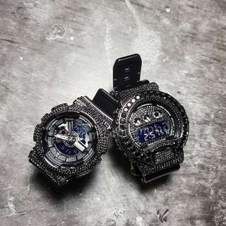 Couple watch /customise black diamond baby g+ full black diamond dw6900 fully customise/please visit Instagram #gcustomisediamond for live video of the watch