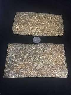 1920s-30s Peranakan Silver Gold Gild Pillow Ends
