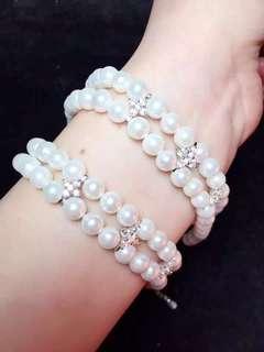 天然淡水珍珠雙層手鏈